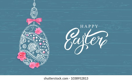 Happy Easter banner with hand drawn flowers, eggs on wood background.
