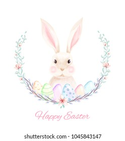 Happy easter banner with hand drawn watercolor eggs, bunny, wreath and pussy willow branches.