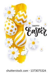 Happy Easter banner with lettering, realistic Easter eggs, flowers and golden paint stroke. Vector illustration, eps 10 file.