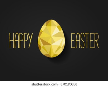 Happy Easter banner in low poly triangle style.  Flat design polygon of golden egg isolated on black background. Vector illustration. Perfect for greeting card or elegant party invitation.