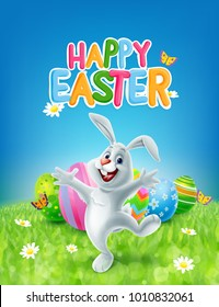happy easter banner with rabbit