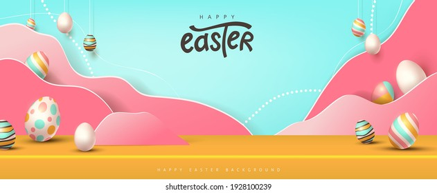 Happy easter banner studio table room product display with copy space. Traditional colored easter eggs with different ornaments.