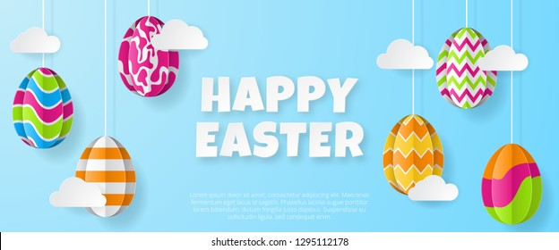 Happy easter banner template. Greeting Card. Paper cut style. Vector illustration