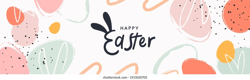 Happy Easter banner. Trendy Easter design with typography, hand painted strokes and dots, eggs, bunny ears, in pastel colors. Modern minimal style. Horizontal poster, greeting card, header for website - Shutterstock ID 1915020703
