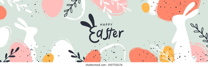 Happy Easter banner. Trendy Easter design with typography, hand painted strokes and dots, eggs and bunny in pastel colors. Modern minimal style. Horizontal poster, greeting card, header for website - Shutterstock ID 1927725176
