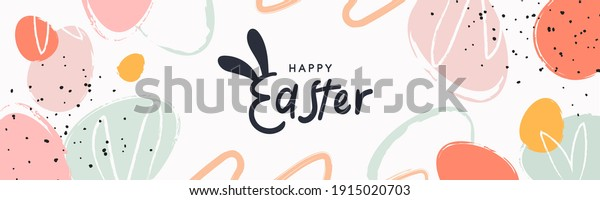 Happy Easter banner. Trendy Easter design with typography, hand painted strokes and dots, eggs, bunny ears, in pastel colors. Modern minimal style. Horizontal poster, greeting card, header for website