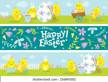 Happy Easter banners. Cute chicken cartoon characters illustrations. Vector illustration.