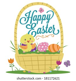 Happy Easter Basket Duck Eggs Flowers Jelly Beans Vector