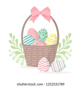 Happy easter. Basket with easter eggs isolated on a white background. Vector illustration.