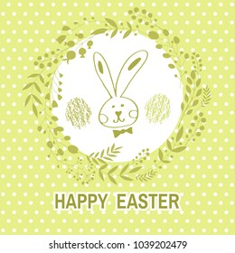 Happy Easter .Beautiful   greeting card with flower frame,  rabbit, egg ,easter bunny and handdrawn lettering  in cartoon style. Vector illustration.