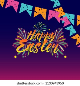 happy easter, beautiful greeting card background or banner with fireworks theme. vector