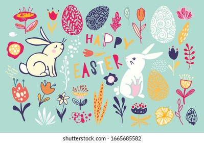 Happy Easter - big hand drawn doodle set. Easter background. Template design elements for invitation, poster, pattern, fabric, textile. Easter art.