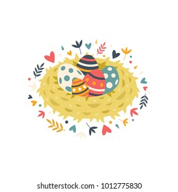 Happy Easter! Bird's nest with colorful eggs and spring flowers in flat style. Vector stock illustration.