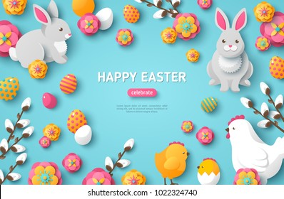 Happy Easter Blue Background. Vector Illustration. Spring Holiday Concept, place for text. Flat Icons - Chicken, Rabbit, Flowers and Eggs