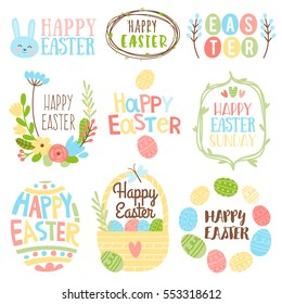 Happy Easter bright design collection. Set of nine colored vintage style Easter label designs on wight background.