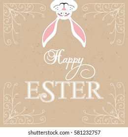Happy Easter! Easter bunnies. Holiday vector illustration