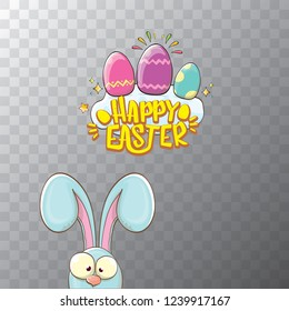 happy easter bunny with calligraphic text, clouds , rainbow and color easter eggs isolated on transparent background. vector easter greeting card with blue rabbits ears. Design elements set