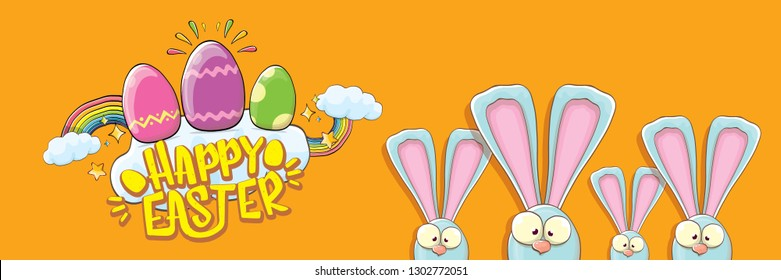 happy easter bunny with calligraphic text, clouds , rainbow and color easter eggs isolated on horizontal banner background. vector easter greeting card with blue rabbits ears. Design elements set