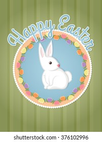 Happy Easter bunny card illustration.  A cute bunny surrounded by stylized tulips on a striped background with the words Happy Easter.