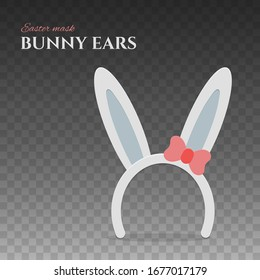 Happy Easter bunny ears. Rabbit mask with ear and red bow for easter celebration. Isolated vector illustration for holiday design.