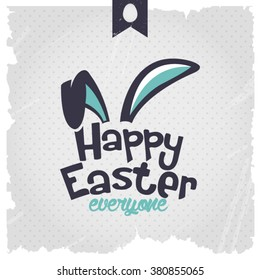 Happy Easter | Easter Bunny Ears Vector. Calligraphic design.