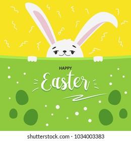 Happy easter bunny egg hunt invitation template. Vector illustration