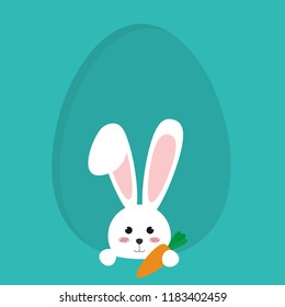 Happy Easter bunny in egg icon vector illustration