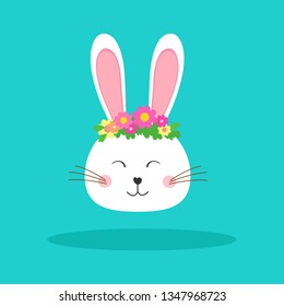 Happy Easter  bunny. Greeting card with with a rubbit head in a flower wreath.Web banner.Vector illustration.