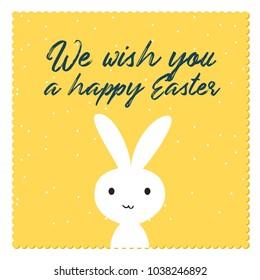 Happy easter bunny invitation template. Vector illustration