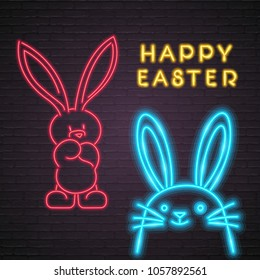 Happy Easter Bunny Neon Light Glowing Rabbit Silhouette Bright