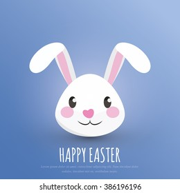 Happy Easter. Easter Bunny / Rabbit Head - Greeting Card and Poster Template with White Background and Emotional Expression. Vector Element Graphic Illustration Design.