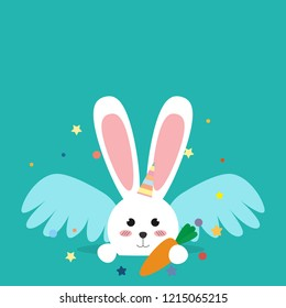 Happy Easter bunny in a unicorn costume vector