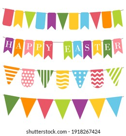 Happy easter bunting, white background. Bunting flags with inscription Happy easter. Easter elements, colorful bunting  for holiday decoration. Templates for scrapbooking. Vector illustration