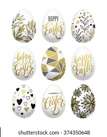 Happy easter.  Calligraphic lettering egg golden effect. Vector illustration