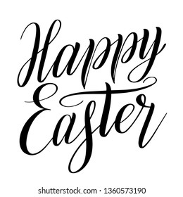 Happy Easter. Calligraphic style design element for greeting cards. Brush pen hand lettering. Black isolated cursive. Handwriting inscription. Vector holiday script.