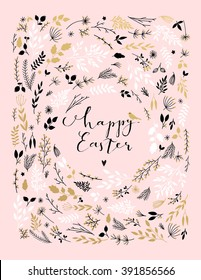 Happy easter calligraphy card template with flowers, branches, leaves frame. Vector illustration. Hand drawn lettering