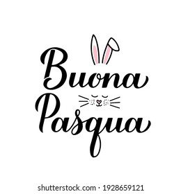 Happy Easter calligraphy hand lettering in Italian language with cute bunny face. Easter celebration typography poster. Vector template for party invitation, greeting card, banner, sticker, etc.