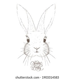 Happy Easter calligraphy handmade lettering inscription with sketch drawn bunny.