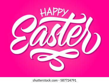 happy easter, calligraphy, handwritten text, greeting card