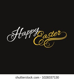 Happy Easter Calligraphy Template for Greeting Cards Black Background