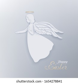 Happy Easter card with angel, nimbus, wings with shadow and congratulation text Happy Easter. A beautiful angel and decorative inscription on a light gray background. Vector stock illustration.