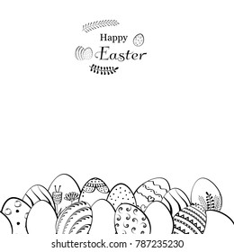 Happy Easter card and banner with a composition of eggs. Vector hand drawn illustration.