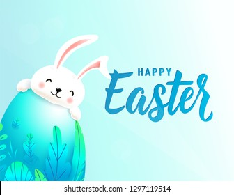 Happy easter card with big 3d spring leaves egg behind which smiling cute rabbit is hiding. Text lettering sign for greeting holiday background. Vector illustration.