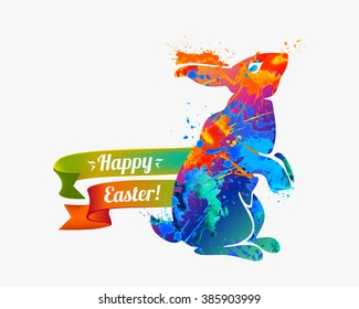 Christian greetings images stock photos vectors shutterstock happy easter card easter bunny christian holiday m4hsunfo