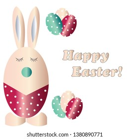 Happy Easter card with Easter bunny and eggs