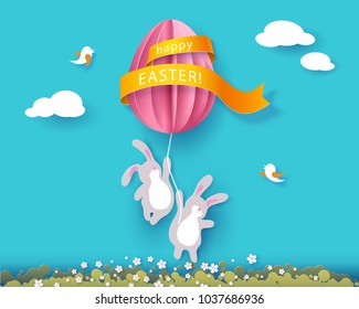 Happy Easter card with banny, flowers and egg air balloon on blue sky background. Vector illustration. Paper cut and craft style.