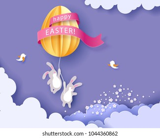 Happy Easter card with bunny, flowers and egg air balloon woth blue sky background. Vector illustration. Paper cut and craft style.