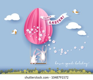 Happy Easter card with bunny, flowers and egg air balloon on blue sky background. Vector illustration. Paper cut and craft style.