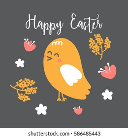 Happy Easter Card with chick, Vector Illustration.
