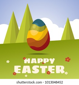 Happy Easter card. Color Easter egg. Flat design. Egg hunt for children template layout.